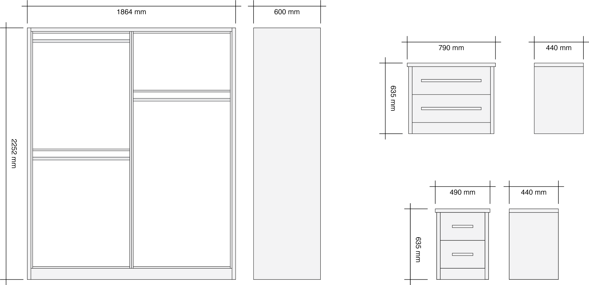 1.8m Wide Harmony Gloss Wardrobe Package Dimensions