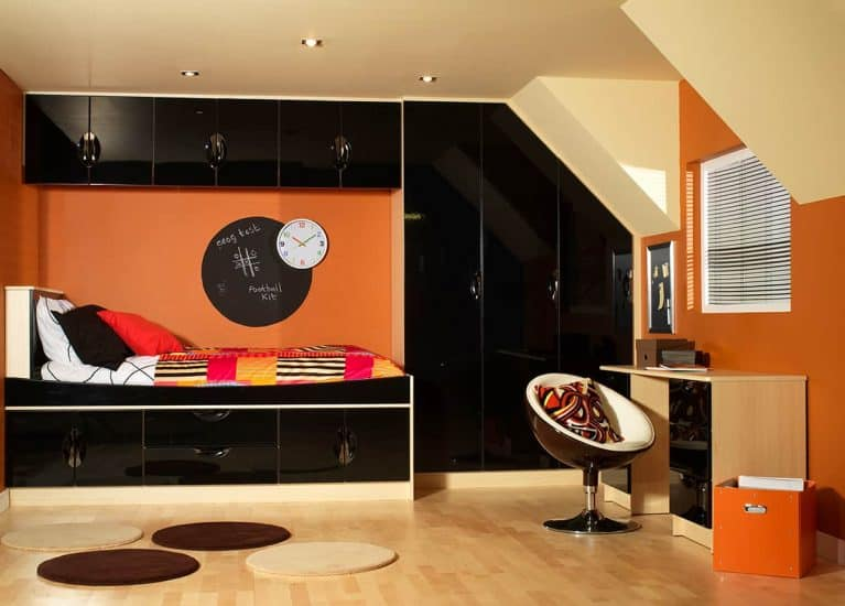 childrens fitted bedroom furniture. Black Gloss \u0026 Maple Madrid Design Fitted Bedroom Childrens Furniture S