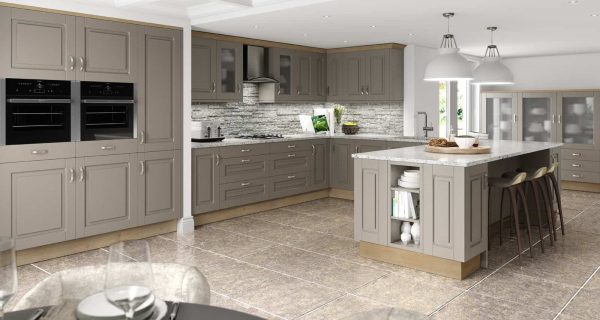 Stone Grey & Odessa Oak Fitted Kitchens Northern Ireland