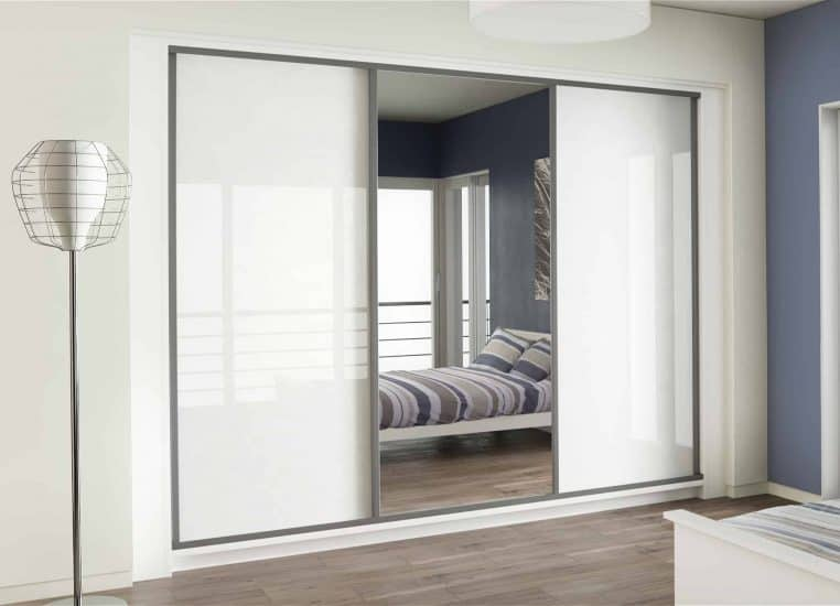 Sliding Wardrobes Bedroom Furniture White Glass Mirror Starplan