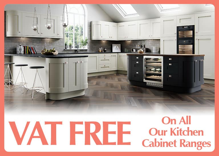 VAT FREE with all our kitchen cabinet ranges