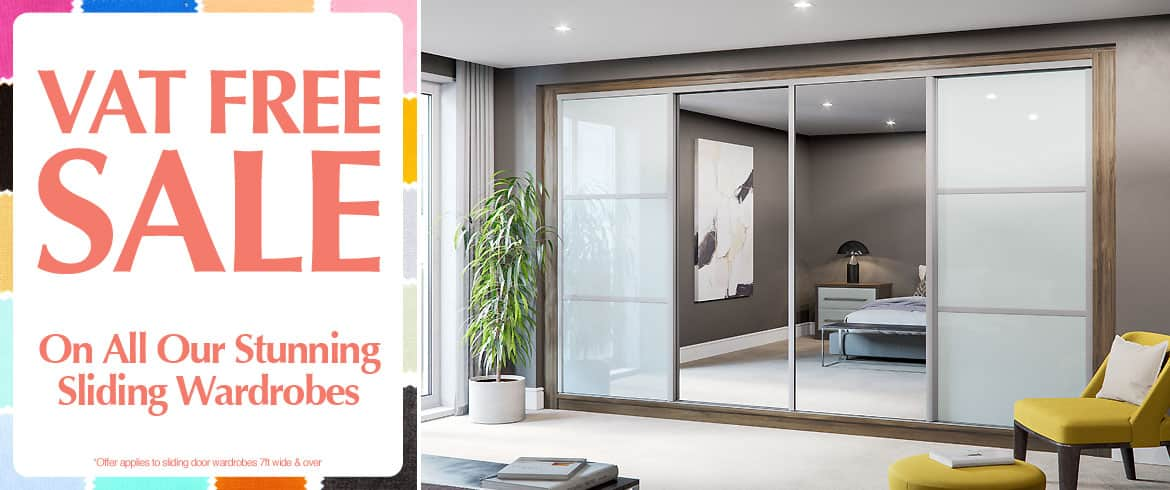 VAT FREE on all sliding door wardrobes