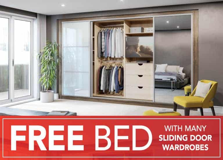 FREE Bed with many sliding door wardrobes