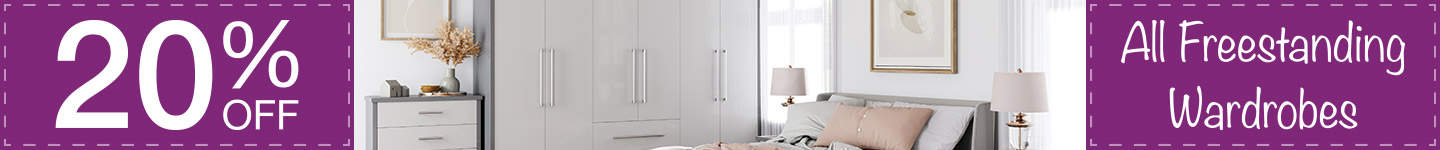 20% off all freestanding wardrobes