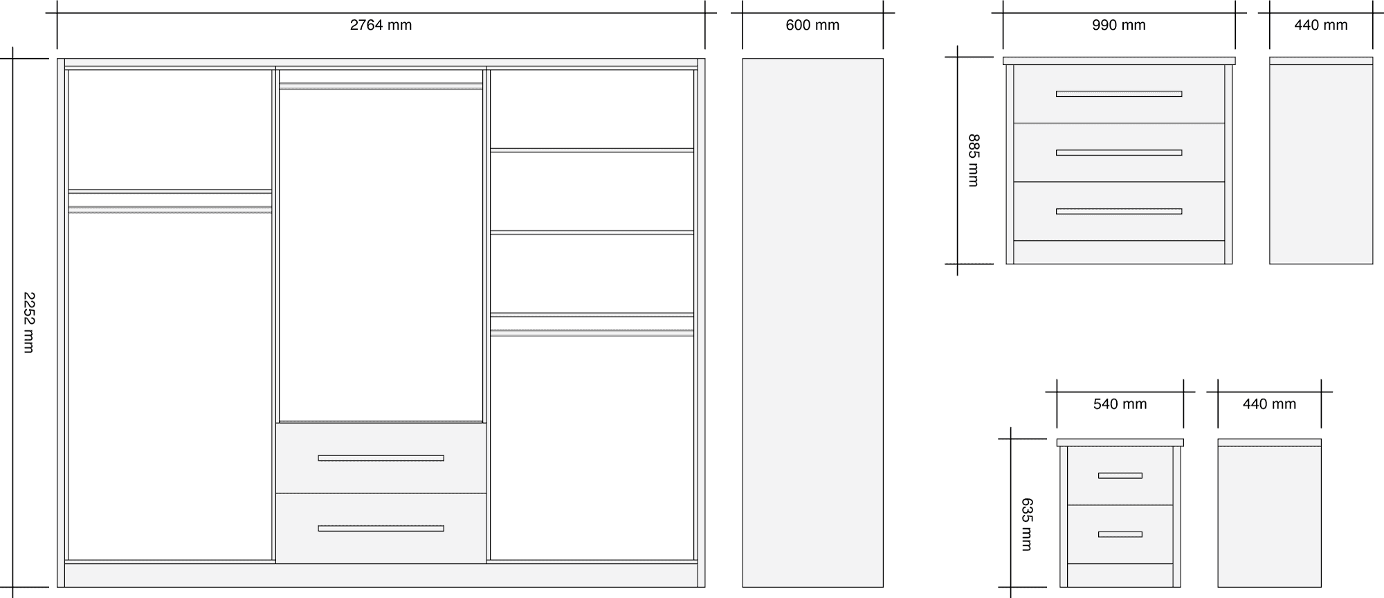 2.7m Wide Harmony Gloss Wardrobe Package Dimensions